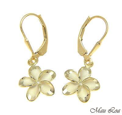 925 Silver Yellow Gold Hawaiian Plumeria Flower No CZ Stone Leverback Earrings Yellow Gold Flower Earrings