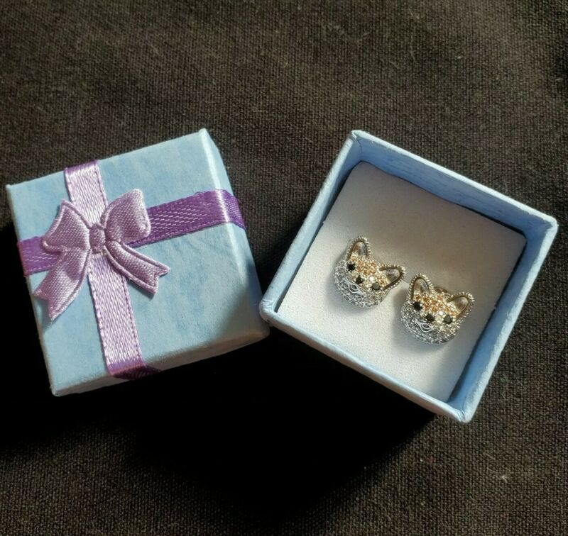 Shiba Inu Dog Pet Animal Sparkling Stone Sterling Silver Stud Earrings Jewelry