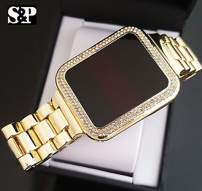 0a436cd2509 Hip Hop Iced Out Digital Touch Screen Gold Plated Lab Diamond Square Metal  Watch