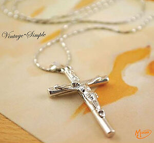 Jewelry Christ Cross Sterling Silver P Jesus Crucifix Sword Necklace Pendant -