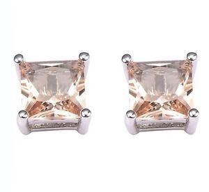 925 sterling silver Earrings Morganite High Quality Gemstone Studs