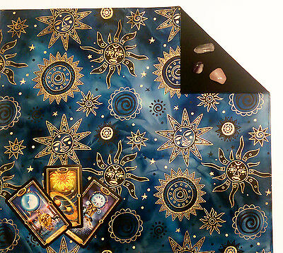 "Celestial Brilliant Batik Lined Tarot or Altar Cloth 18""x20"" Runes Moon Stars"