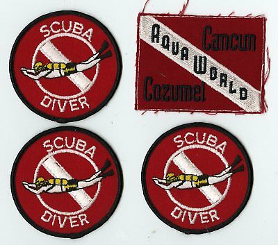 Lot of 4 SCUBA DIVER and AQUA WORLD CANCUN COZUMEL Embroidered Iron On Patches