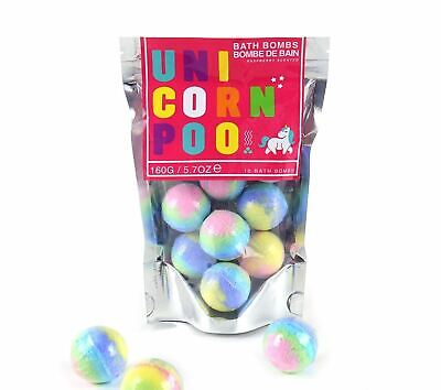 Pack Of 10 Unicorn Poo Bath Bombs Novelty Raspberry Scented