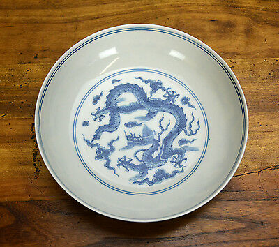 Fine Superb Chinese Ming Chenghua Style Blue and White Dragon Porcelain Plate