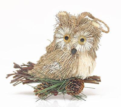 17cm groß Eule auf Ast mit Eicheln & Pimentkörner, Weihnachtsbaum Ornament