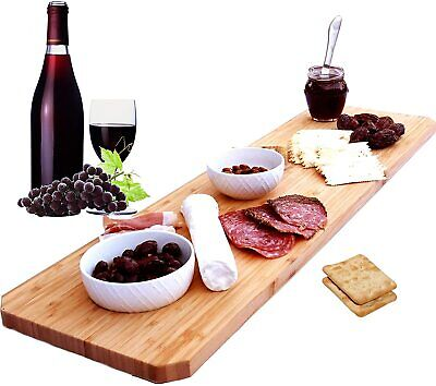 Extra Large Bamboo Cheese Board Platter - 30 Inch Long Charcuterie Board