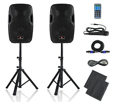 Powered PA Speakers,12 Inch 2-Way DJ Speakers System Pair-Bulit in USB/SD/FM/AUX