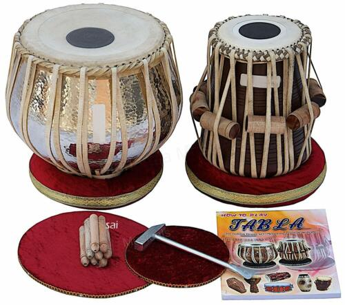 SAI Musicals Tabla Drum Set, Concert Quality, 2.5 Kg Chromed Copper Bayan, Shees