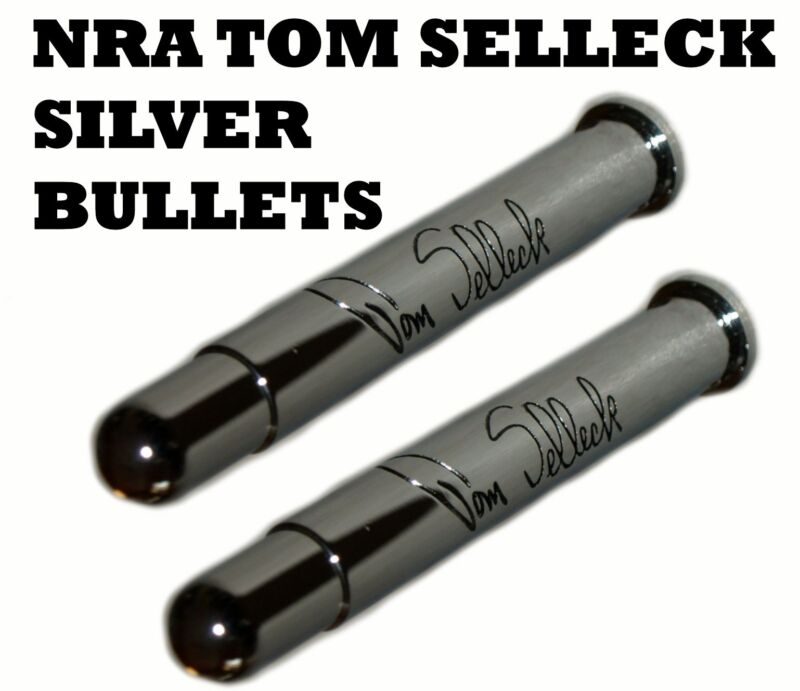 TWO (2) Tom Selleck NRA Silver Bullets 45-110 Quigley Down Under Keychains FOB