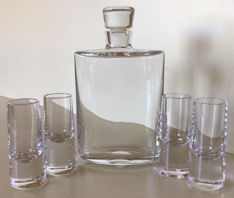 Atlantis Crystal ~ Whiskey Decanter Set W/ Four Shot Glasses ~ Marked