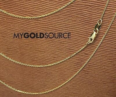 (14k Gold Necklace Diamond Cut Rolo Yellow Gold Chain 16/18/20 Inches 0.95MM)