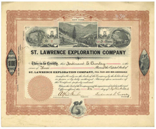 St. Lawrence Exploration Company. Stock Certificate. New York. 1906