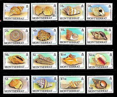 Montserrat stamps #681 - 696, MNHOG, XFS, full topical set, seashells