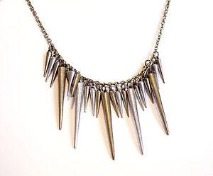 Bronze-Gunmetal-Spike-Necklace-Vintage-Jewellery-Gothic-Spikes-Festival-Jewelry