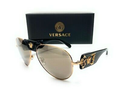 Versace VE2150Q 10025A Black Gold Light Brown Mirror Men Sunglasses 62-14