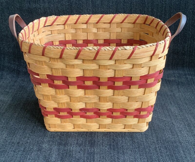 Amish Basket with leather handles by Emma Swartzentruber