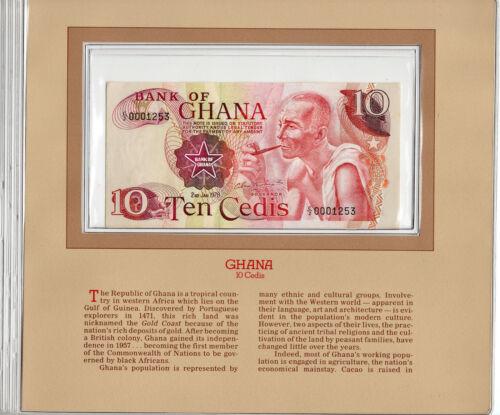 Most Treasured Banknotes Ghana 1978 10 Cedis P16f AUNC Prefix C/2 LOW 0001253