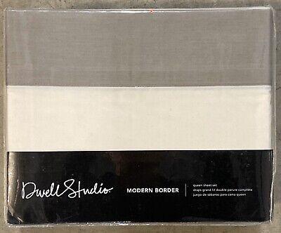 Dwell Studio Modern Border Smoke Queen Sheet Set 4 PC 300TC