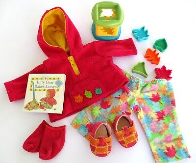 American Girl Bitty Baby Twin Doll 2001 Fall Leaf Outfit #2 Toy Shoes Hoodie
