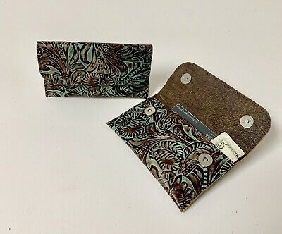 Bag Western Tooled Leather - Raviani Wallet In Brown/ Coin Bag Turquoise Western Tooled Leather Made In USA