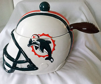 MIAMI DOLPHINS FOOTBALL HELMET NFL SOUP BOWL SERVING BOWL with LADEL