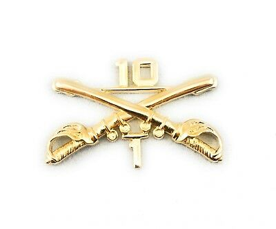 """🌟US Army 1/10 10th Cavalry Crossed Sabres Gold Tone 1-1/2""""  inch Hat Lapel Pin"""