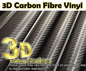 3D-Black-1520MM-59-8in-x300MM-11-8in-CARBON-FIBRE-VINYL-WRAP-STICKER-Air-Free