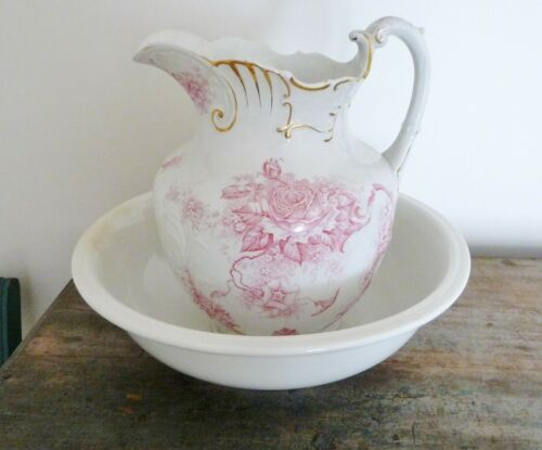 Antique Bowl and Pitcher Set - Pink flowers with Gold- Edwin Bennett Pottery Co.