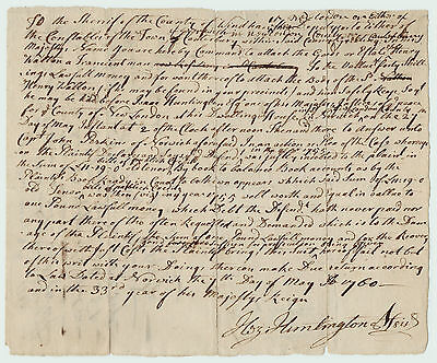 RARE 1760 Manuscript Document Norwich CT Signed Huntington - Capt Perkins