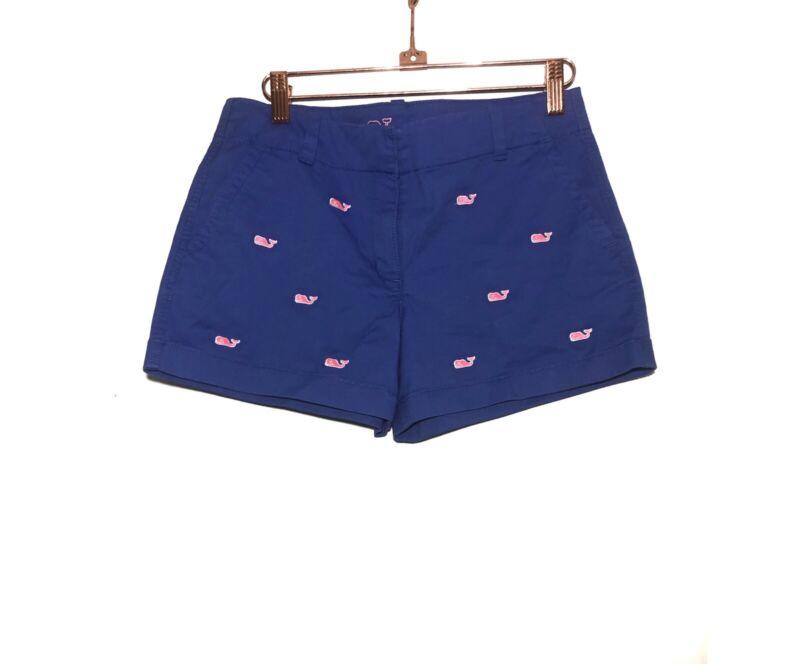 Vineyard Vines Whale Embroidered Shorts Size 12 Cotton Elastane Blue Pink