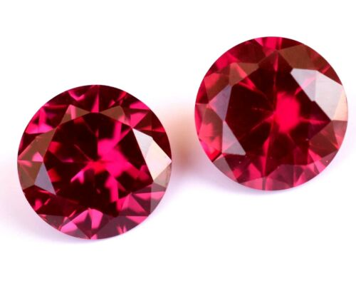 8.65 Ct Pair Of Natural Red Ruby Round 10.00 mm STUNNING  Certified Gemstone