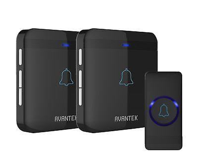 Wireless Doorbell AVANTEK IP55 Door Bells Chime Kit with 2 Plug-in Receivers - Wireless Halloween Doorbell