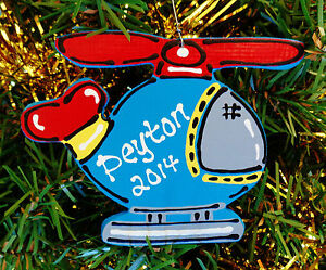U CHOOSE NAME & YEAR Personalized HELICOPTER ORNAMENT Christmas Kids