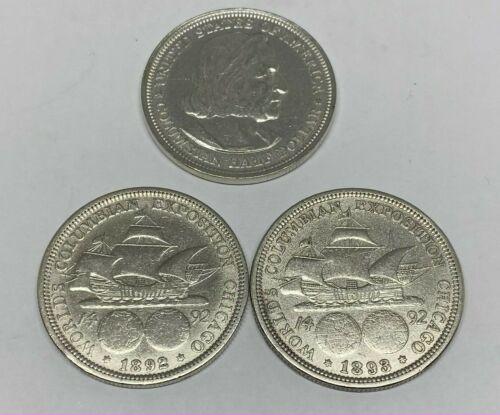 1893 & 1892 Silver Columbian Exposition US Commemorative Half Dollar Worlds Fair