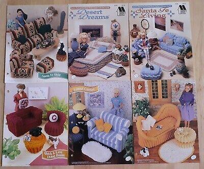 6 Crochet Patterns: Barbie Doll Santa Fe living room, bedroom Furniture