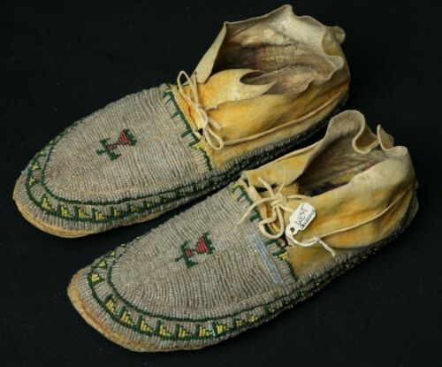 Antique Arapaho Beaded Mocassins - from Ian West collection - Native American