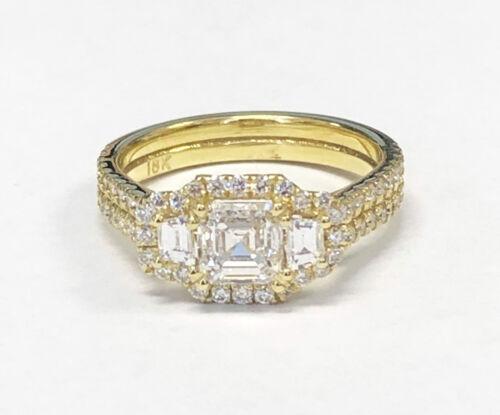 2.50 Carat Asscher Cut Diamond Engagement Ring 18k Yellow Gold GIA Certified
