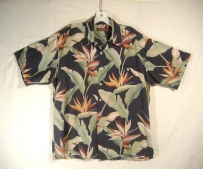 Tori Richard Mens Hawaiian Shirt Sz L Bird of Paradise Banana Leaves Viscose Bird Of Paradise Leaves