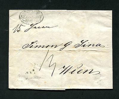 """Zier Stempel """"Szegedin"""" auf komplettem Brief von 1841    (#1396)"""