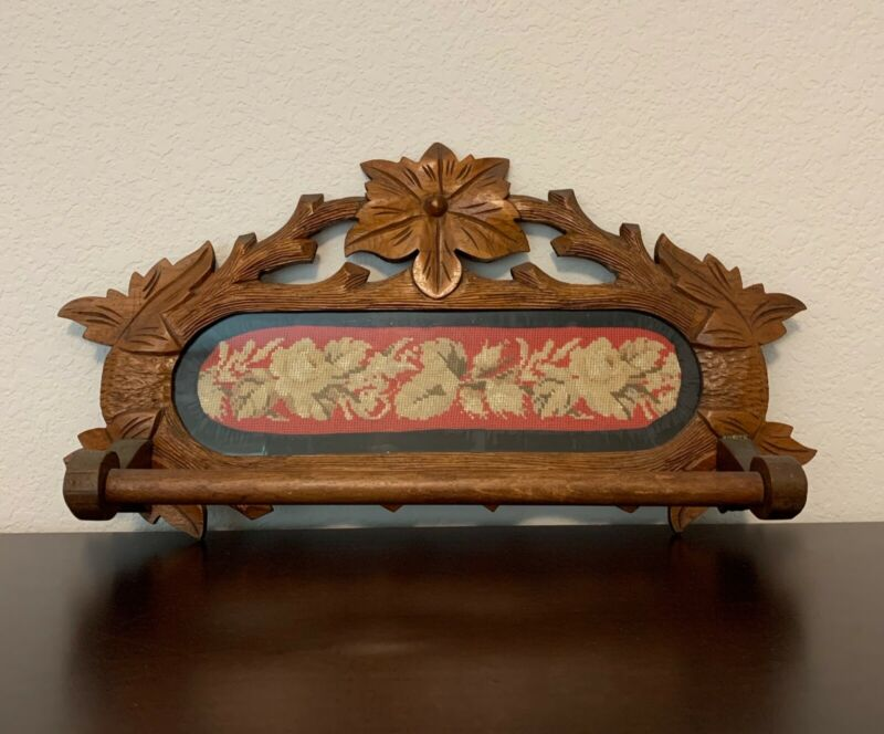 Antique Black Forest Carved towel rack with needlepoint insert ...Eastlake style