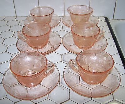 Mac-Beth Evans Pink Depression Dogwood 2 Styles Cup & Saucer Up To 6 Sets.