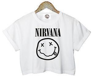 Smiley t shirt band crop top tee hipster retro grunge rock kurt cobain