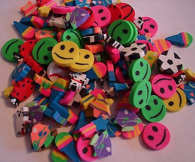 """MINI ERASERS ASSORTMENT  LOT 0F 250 CARNIVALS PARTY TOYS 1/2""""  ASSORTED COLORS"""