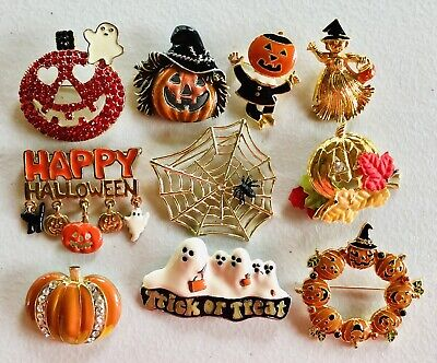 (10) Halloween Pins Pin Brooch LOT Rhinestones Pumpkin Ghost Avon Some Vintage!