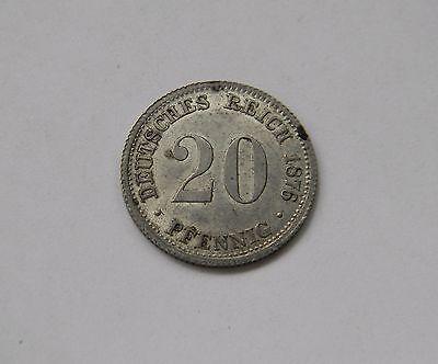 KAISERREICH: 20 Pfennig 1876 D, J. 5, fast stempelglanz, SELTEN !!!
