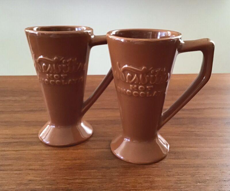 Vtg Hot Chocolate Mugs Cups Pair NESBITTS CHEFSWARE Restaurant Ware Brown