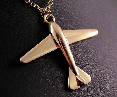 Alloy Gold Tone Airplane Pendant Chain/Necklace w/Free Jewelry Box and (Airplane Pendant Jewelry)