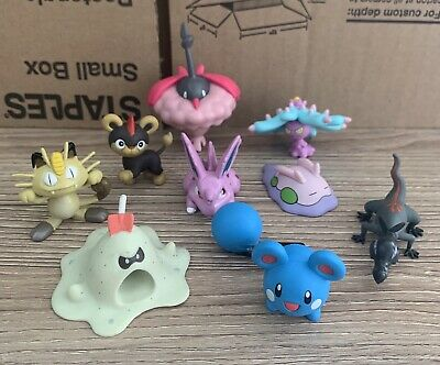 Pokemon Figures Toy Lot Azuril Sandyghast Nidoran Salandit Goomy Meowth Litleo