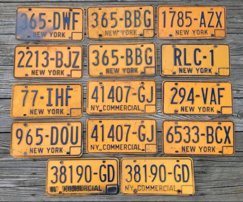 OLD VTG NEW YORK STATE COMMERCIAL CAR AUTO ORANGE BLUE LICENSE PLATE LOT OF 14